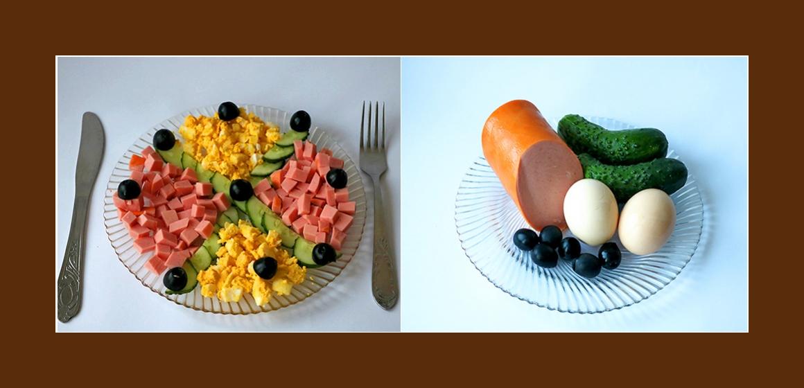Gemischter Salat mit Wurst, Gurken, Eiern und Oliven