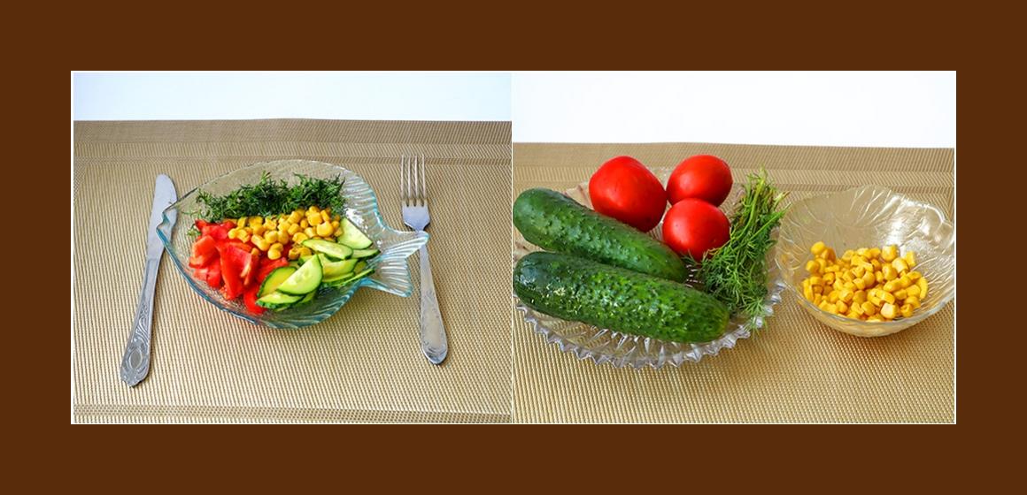 Frischer Gurken-Tomaten-Salat mit Mais und Dill