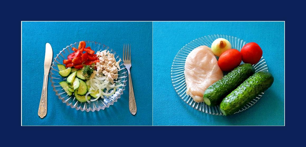 Einfacher Tomaten-Gurken-Salat mit Hähnchen und Zwiebeln
