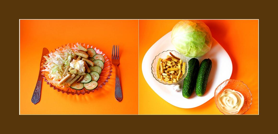 Weißkohl-Gurken-Salat mit Croutons