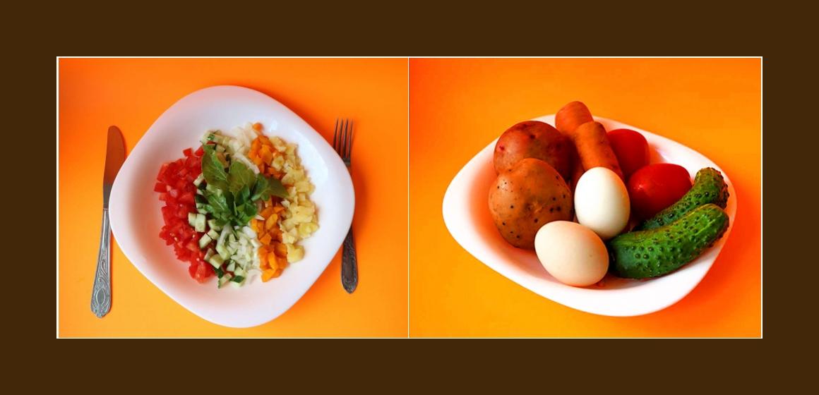 Gemischter Gemüsesalat mit Eiern