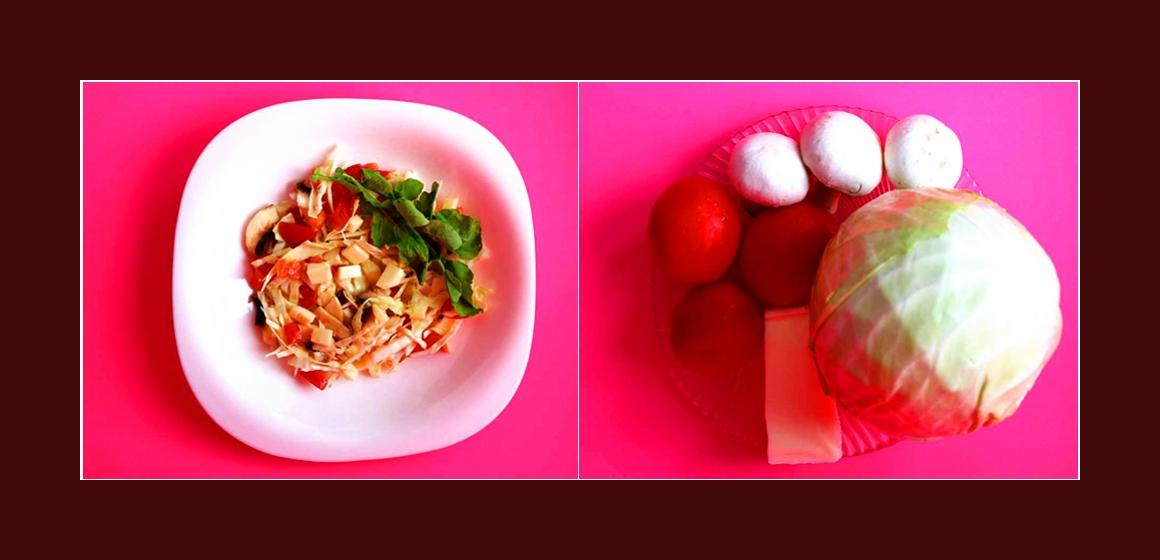 Frischer Kohl-Tomaten-Salat mit Champignons und Käse