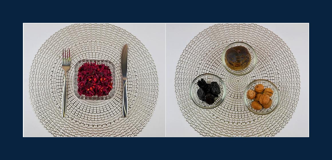 Einfacher Rübensalat mit Walnüssen und getrockneten Pflaumen