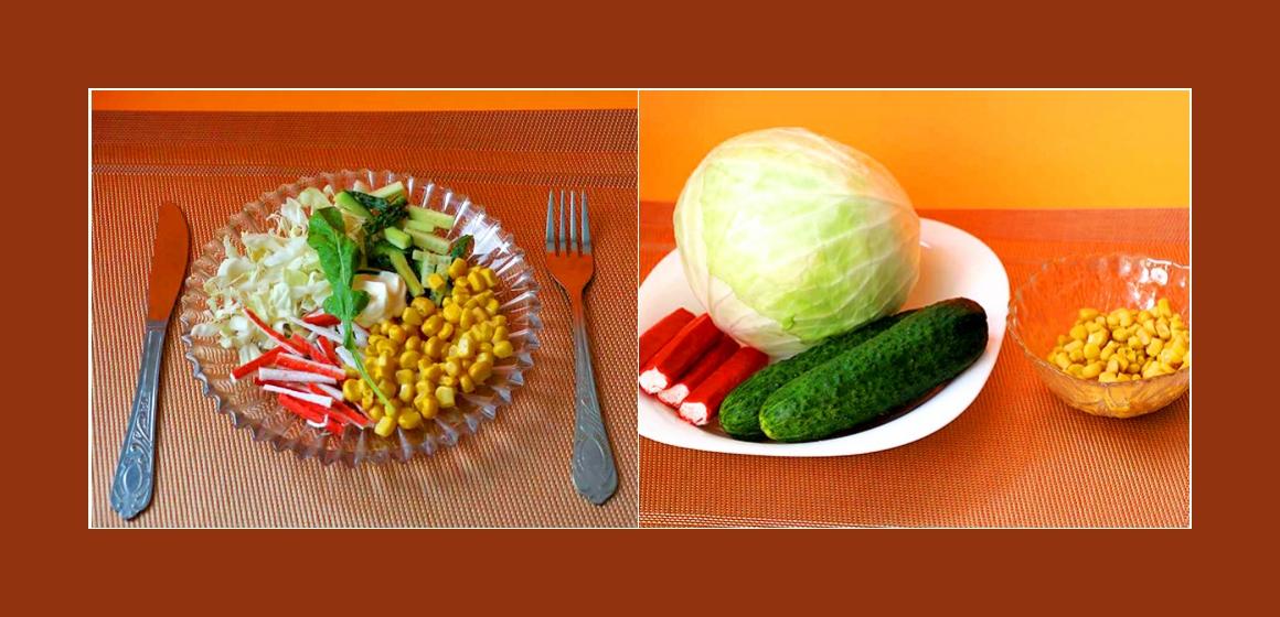Leichter Kohl-Gurken-Salat mit Mais und Krabbenstangen