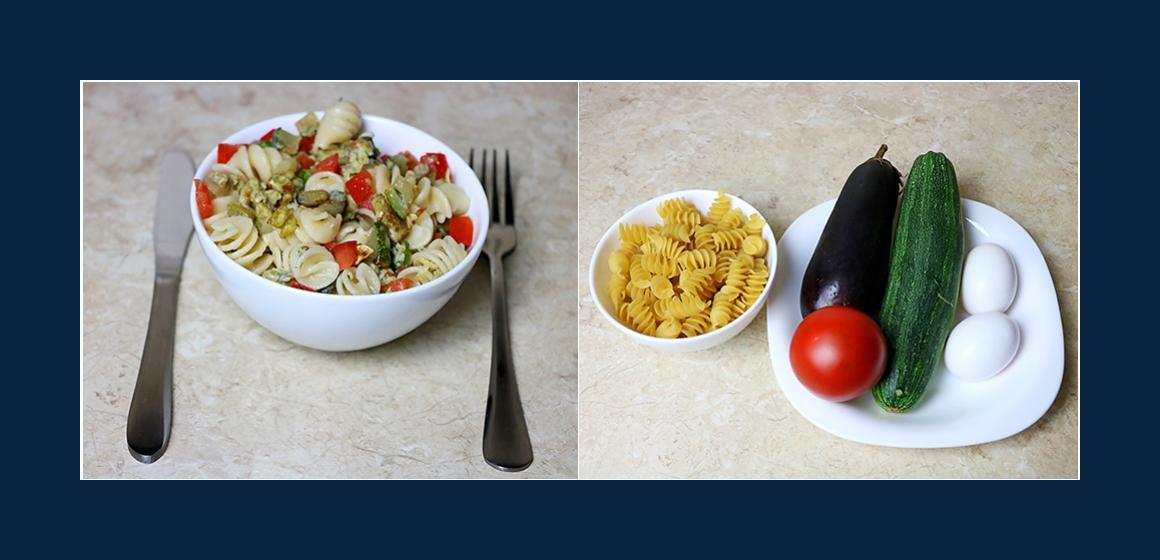 Schmackhafter Nudelsalat mit Tomaten und Zucchini