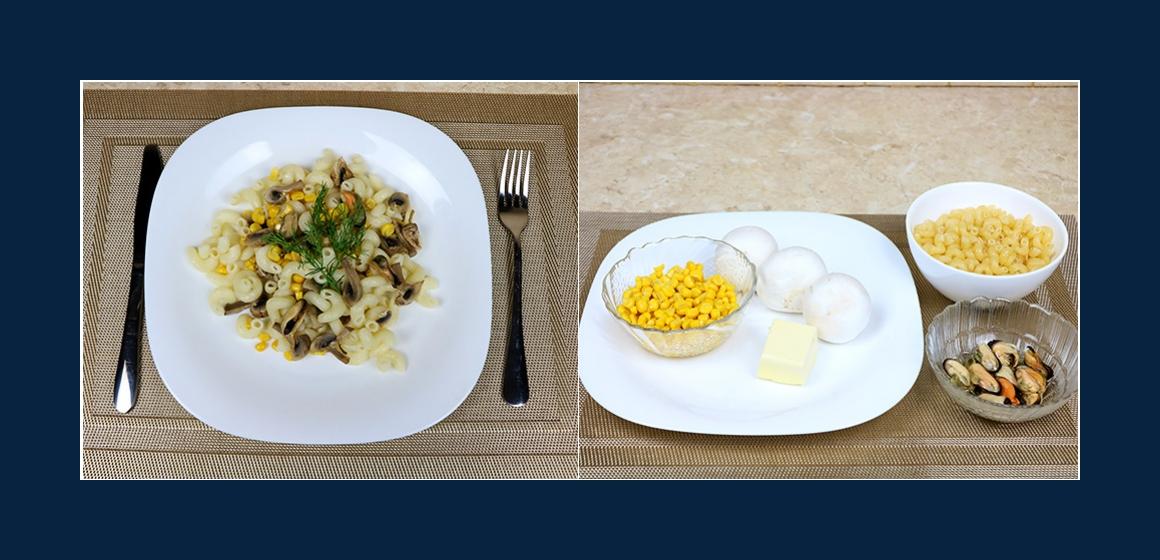 Schmackhafter Nudelsalat mit Miesmuscheln, Pilzen und Mais