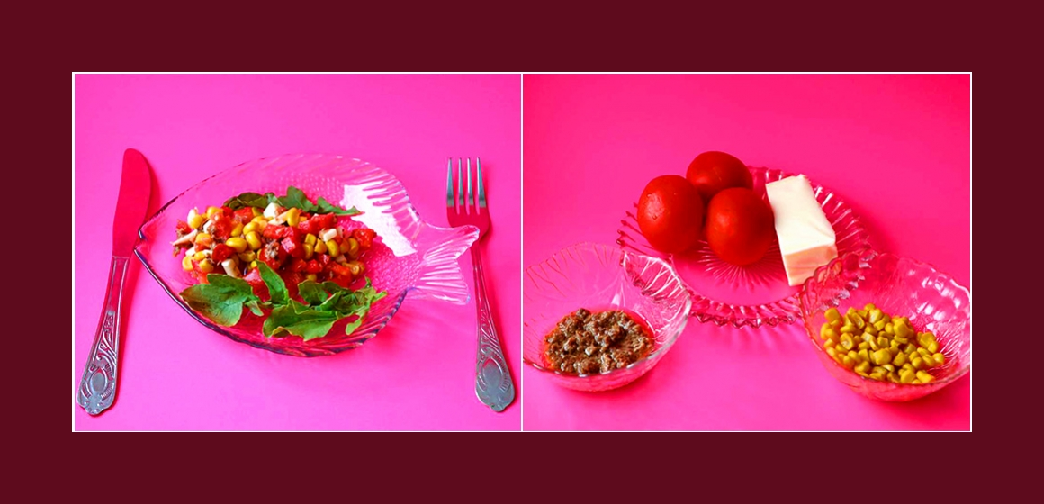 Nahrhafter Tomaten-Käse-Mais-Salat mit Thunfisch