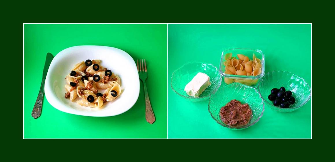 Leckerer Nudelsalat mit Oliven und Thunfisch