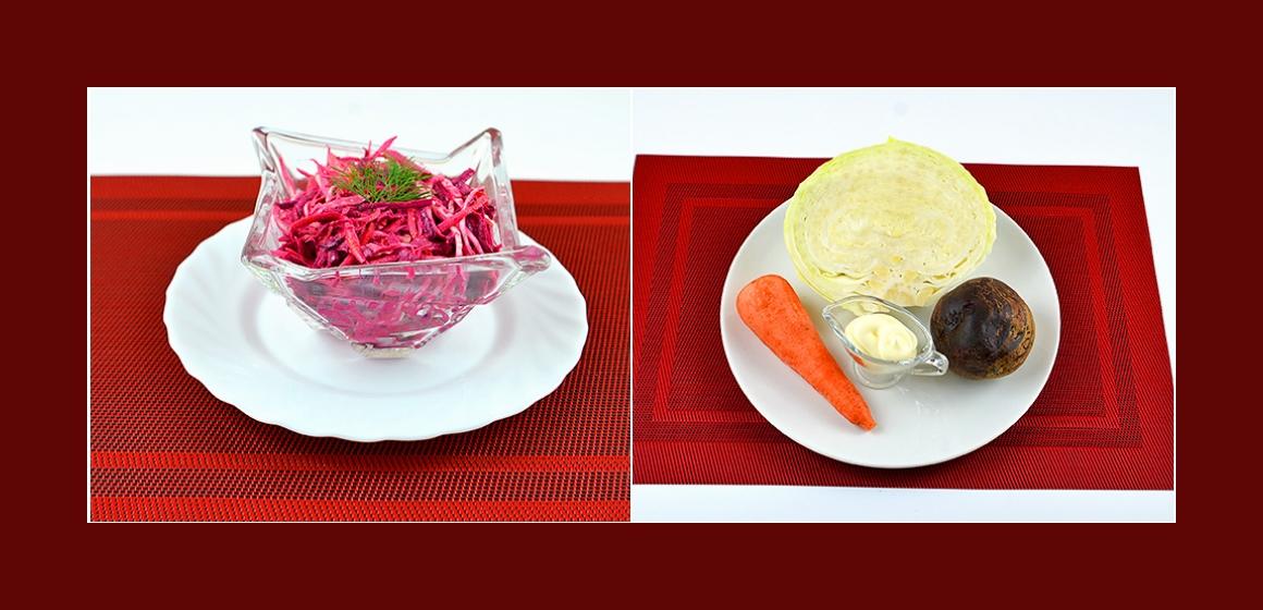 Einfacher Salat mit Weißkohl Rüben und Möhren