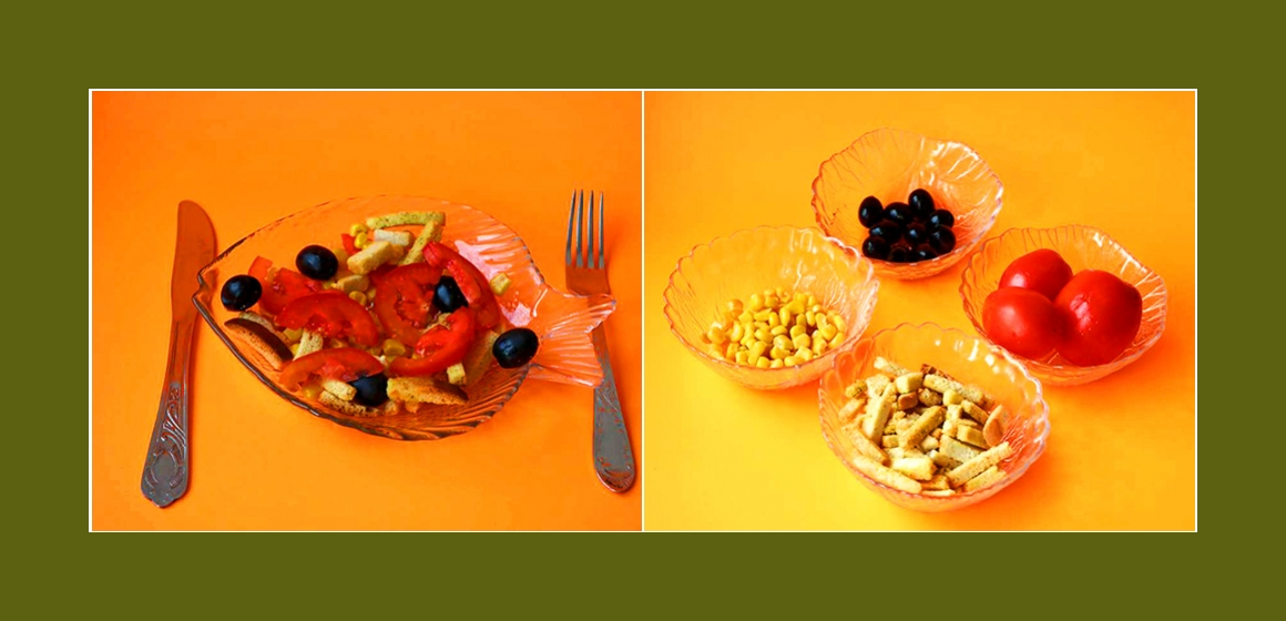 Nahrhafter Tomaten-Oliven-Mais-Salat mit Croutons