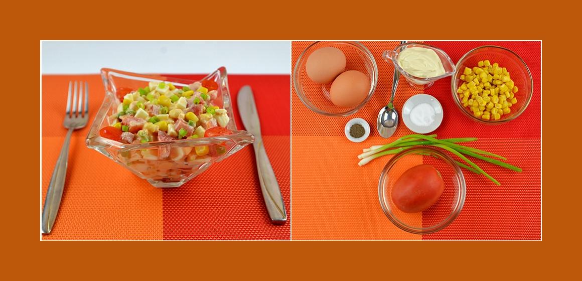 Einfacher Salat mit Eiern Mais Tomaten und Schnittlauch