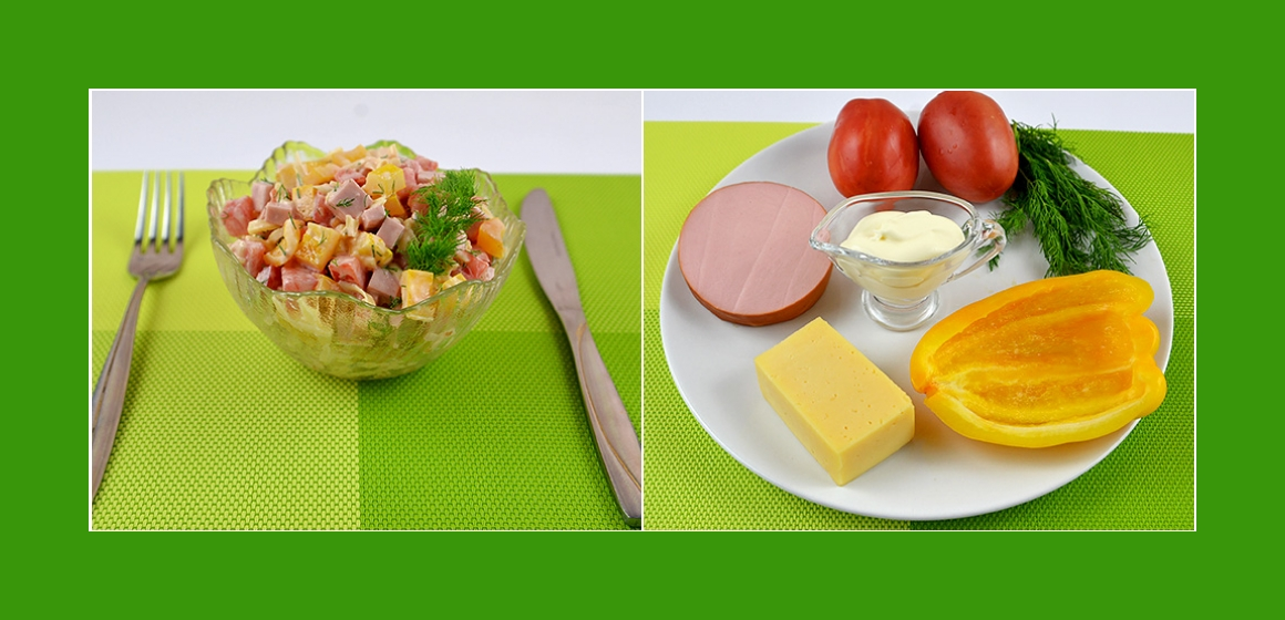 Tomaten-Paprika-Salat mit Käse Wurst und Dill