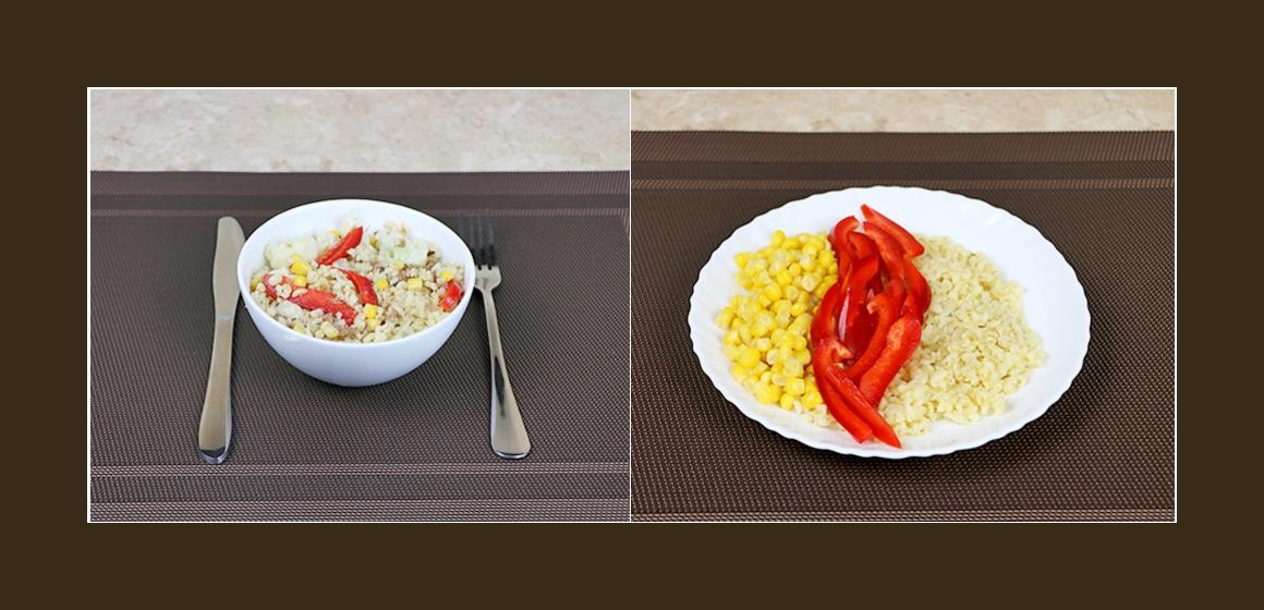 Nahrhafter Bulgursalat mit Thunfisch, Mais, Paprika und Blumenkohl
