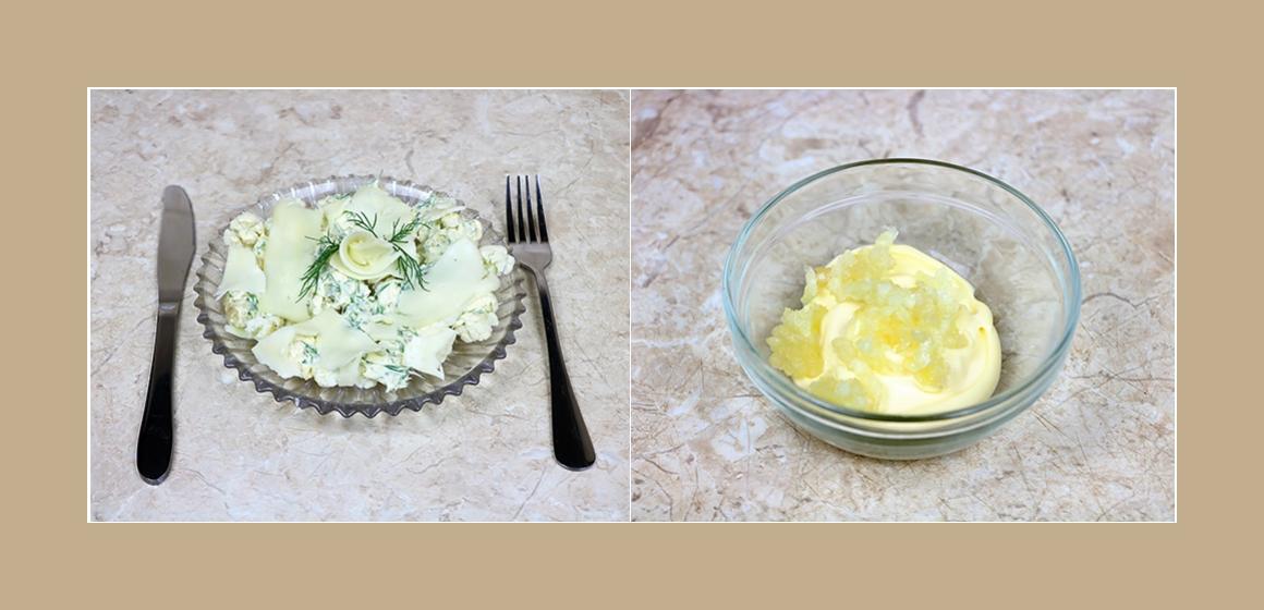 Köstlicher Salat mit Blumenkohl, Käse und Knoblauch