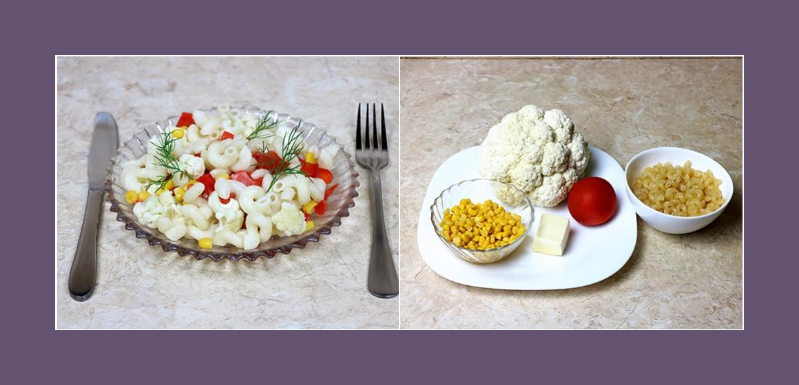 Köstlicher Nudelsalat mit Blumenkohl Mais and Tomaten