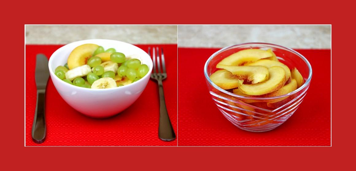 Bananen-Pfirsich-Trauben Salat