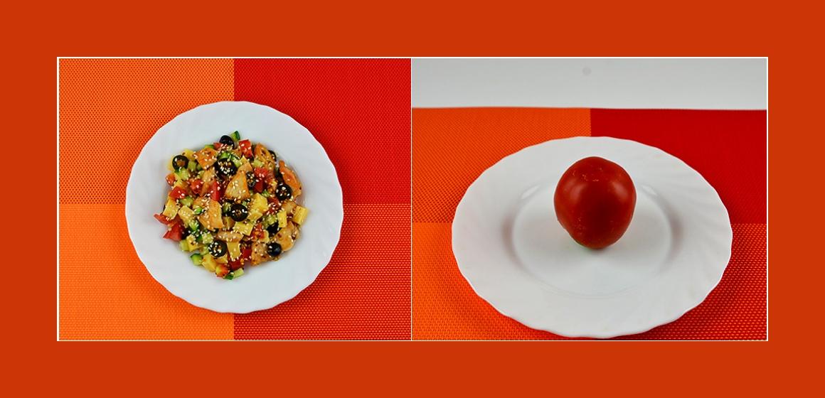 Tomaten-Gurken-Käse Salat
