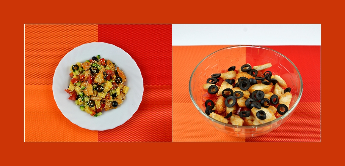 Schmackhafter Gemüsesalat mit Hühnerbrust, Käse, Oliven und Sesam-Senf-Dressing