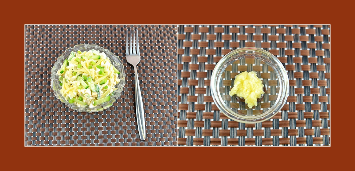 Gemüsesalat mit Käse, Eiern und Knoblauch