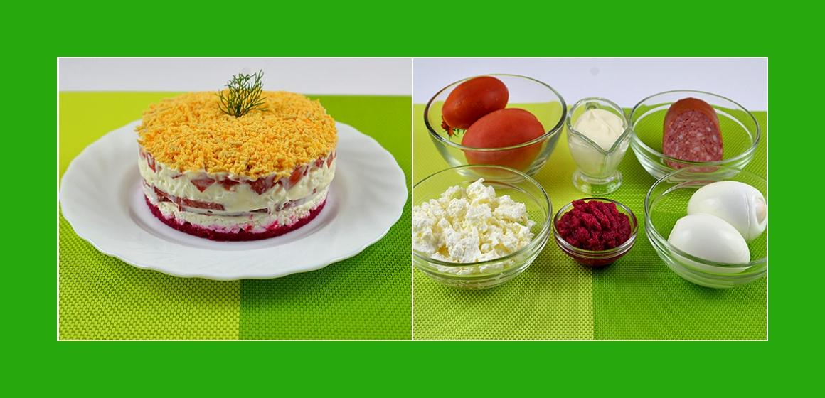 Nahrhafter Salat mit Tomaten Wurst Eiern Meerrettich und Quark