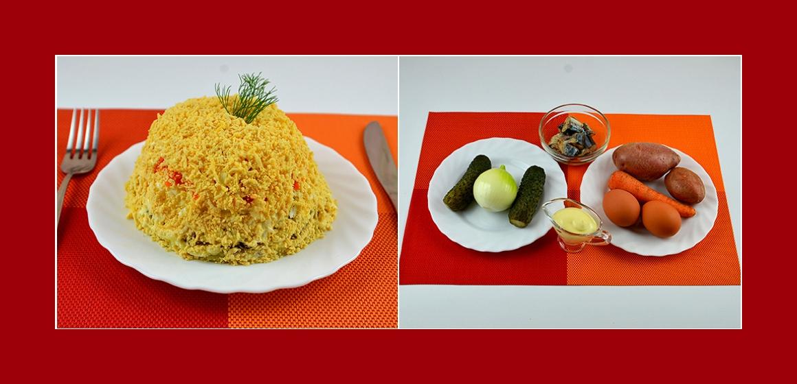 Herzhafter Schichtsalat mit Gurken Eiern Möhren Zwiebeln Kartoffel und Thunfisch