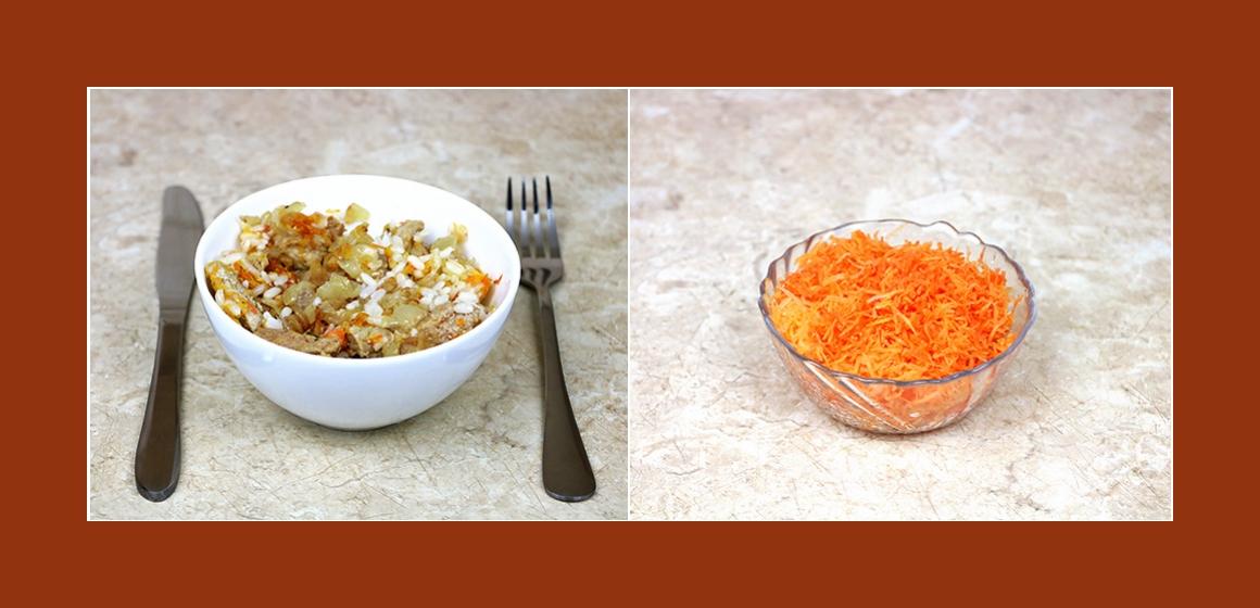 Nahrhafter Rindfleischsalat mit Reis, Möhren, Knoblauch und Zwiebel