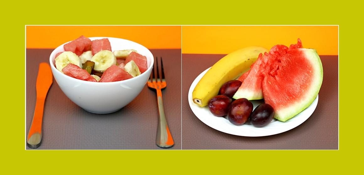 Köstlicher Obstsalat mit Bananen, Wassermelone und Pflaumen