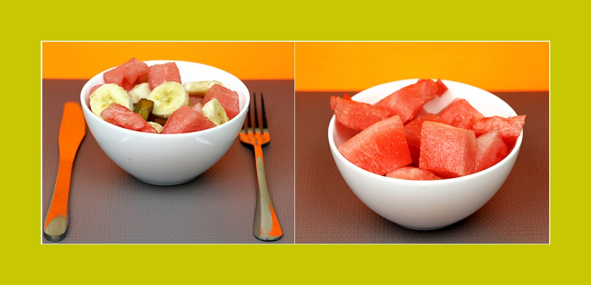 Bananen-Wassermelone-Pflaumen Salat