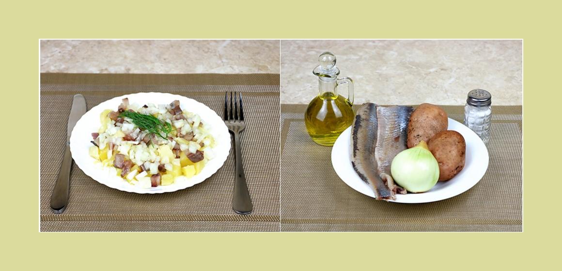 Einfacher Kartoffelsalat mit Hering und Zwiebel