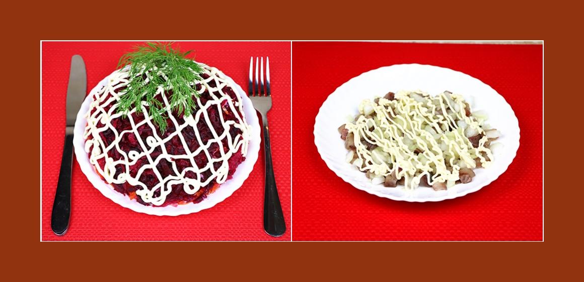 Nahrhafter Schichtsalat mit Hering, Möhre, Rübe, Kartoffeln und Zwiebel