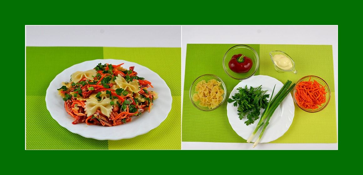 Leckerer Nudelsalat mit Paprika Möhren Petersilien und Schnittlauch