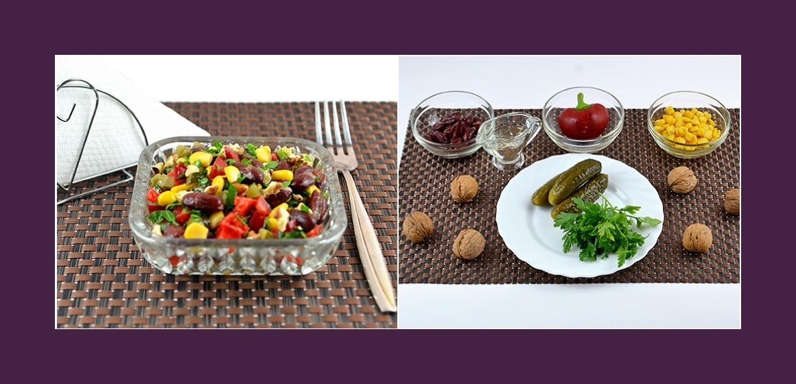 Nahrhafter Salat mit Mais Paprika Gurken Bohnen und Petersilien