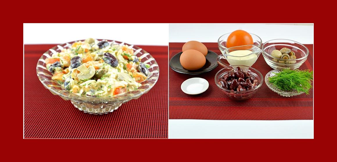 Gemischter Salat mit Eiern Pilzen Dill Bohnen und Kakis