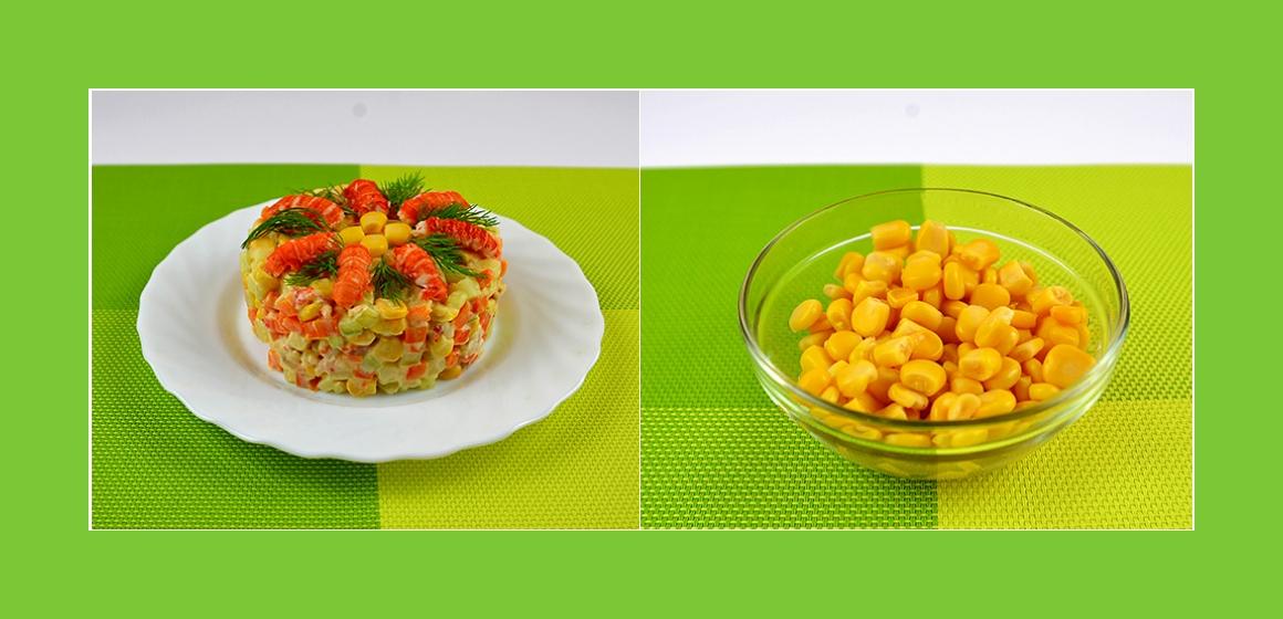 Flusskrebssalat mit Kartoffeln, Gurken, Möhren und Mais