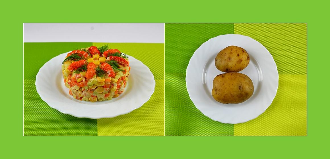 Kartoffeln-Gurken-Möhren-Mais Salat