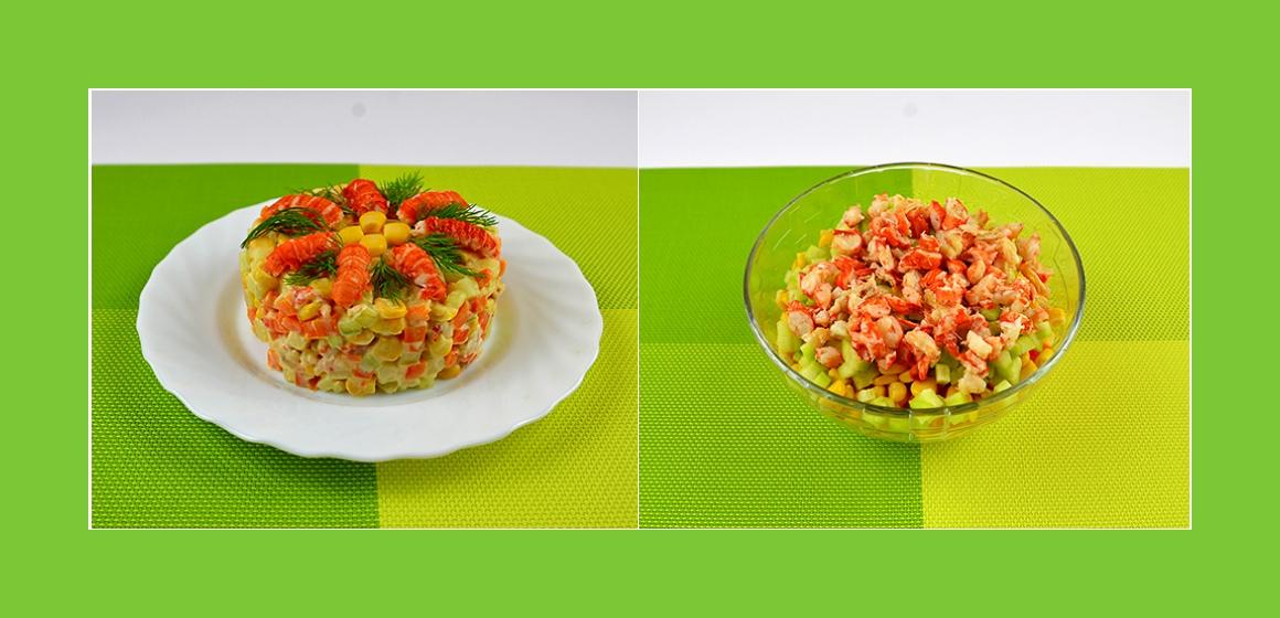 Köstlicher Flusskrebssalat mit Kartoffeln, Gurken, Möhren und Mais