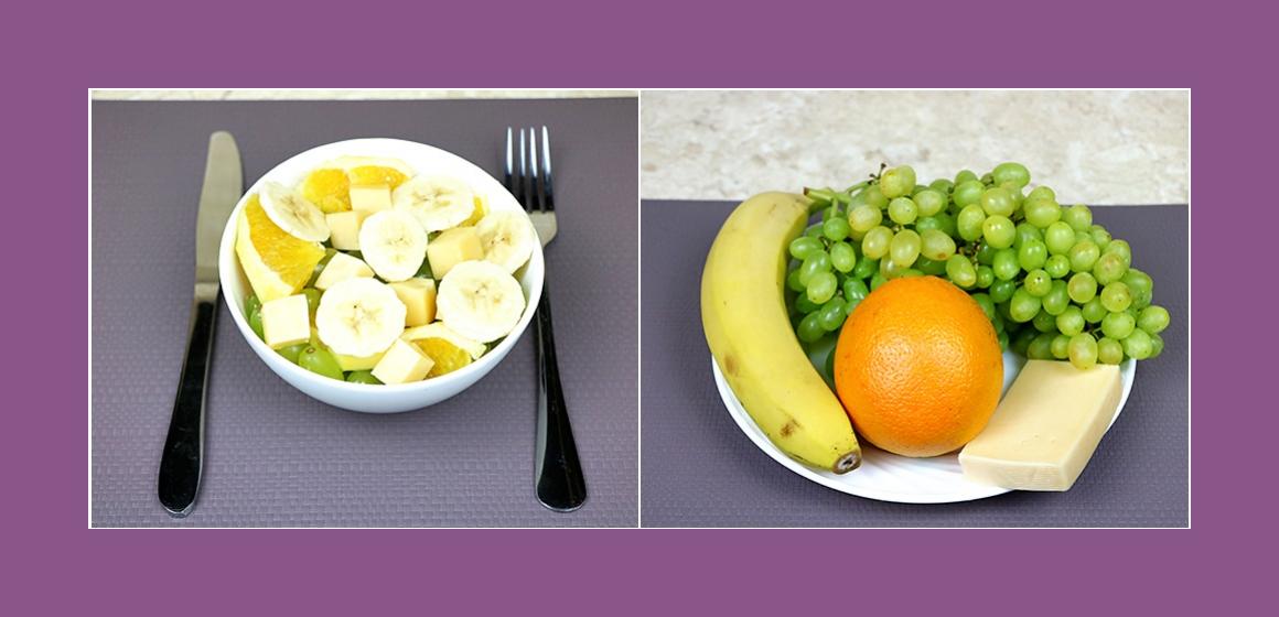 Einfacher Salat mit Banane Trauben Orange und Käse