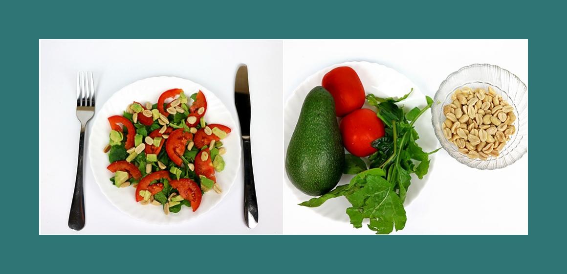 Leichter Salat mit Tomaten Avocados Rucola und Nüssen
