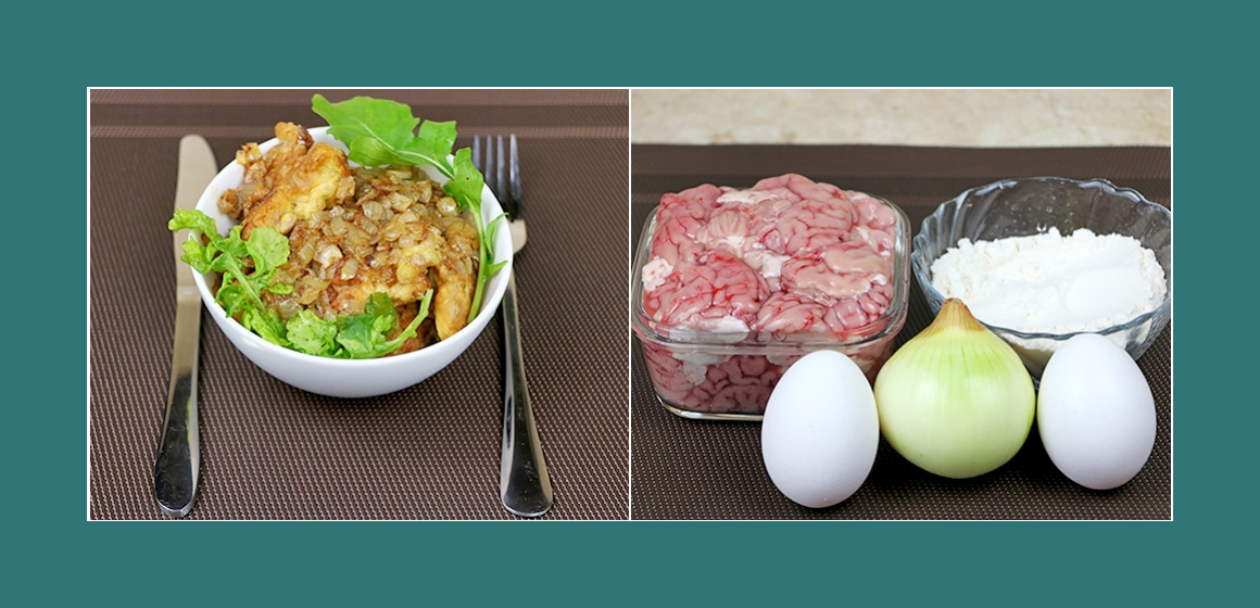 Herzhafter Salat mit Eiern Gehirn und Zwiebeln