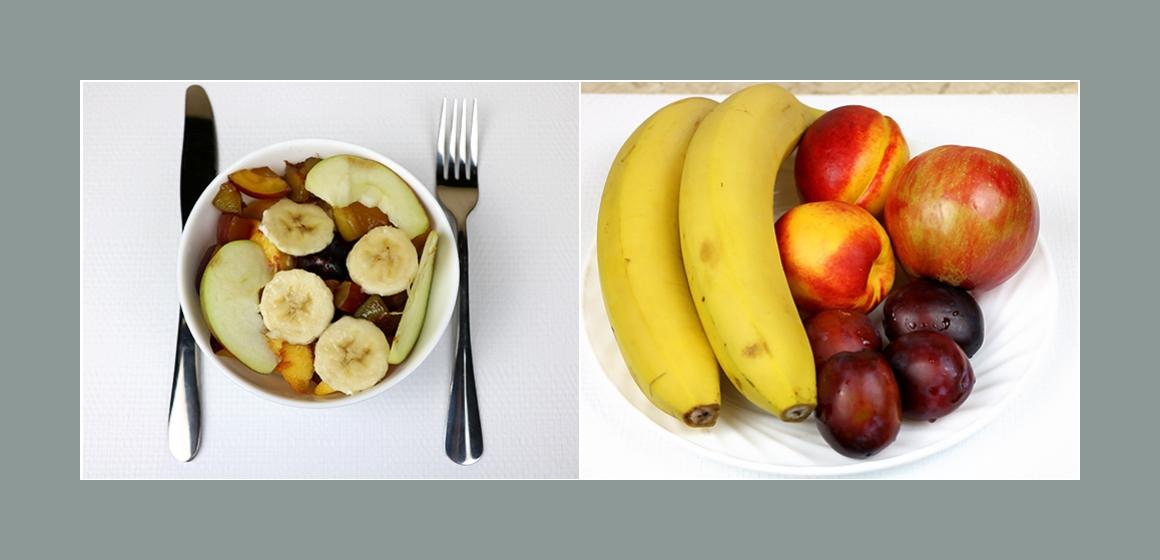 Köstlicher Obstsalat mit Bananen Pfirsich Pflaumen und Apfel