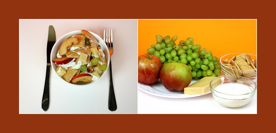 Exotischer Obstsalat mit Trauben, Käse, Äpfeln und Cracker