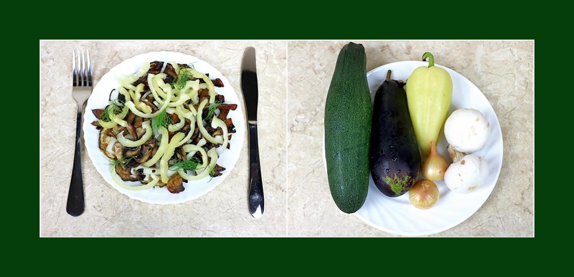 Herzhafter Salat mit Zucchini Auberginen Zwiebeln Paprika und Champignons