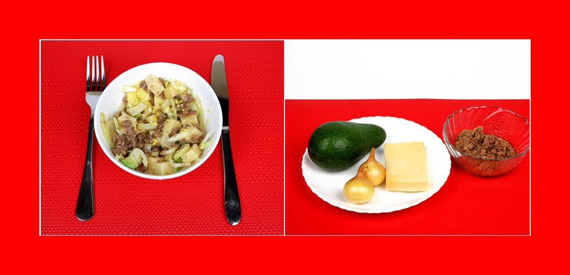 Köstlicher Salat mit Thunfisch, Avocado, Käse und Zwiebeln