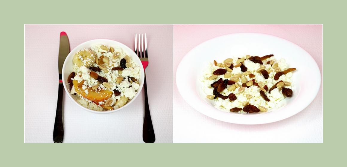 Köstlicher Obst-Quarksalat mit Bananen, Pfirsich, Rosinen und Erdnüsse