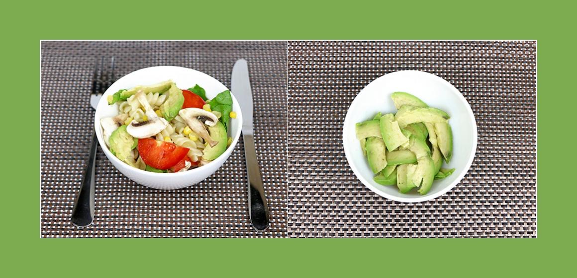 Nudelsalat mit Avocado und Spinat