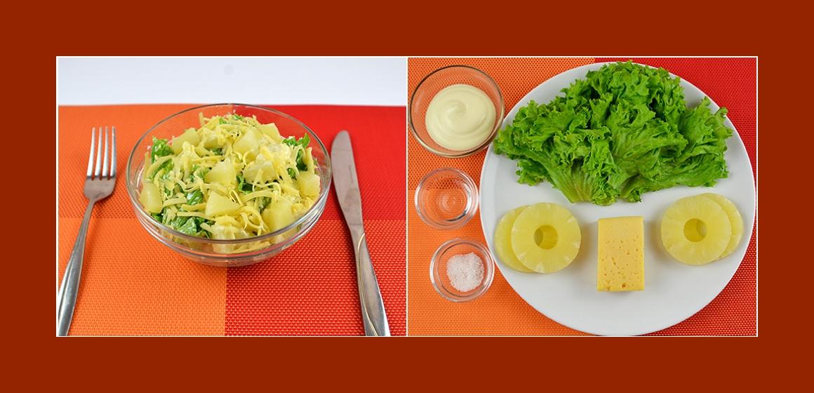 Leckerer Salat mit Ananas Käse und Kräutern