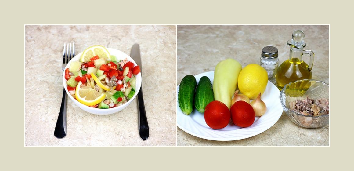 Nahrhafter Gemüsesalat mit Leber, Gurken,Tomaten, Zucchini und Zitrone