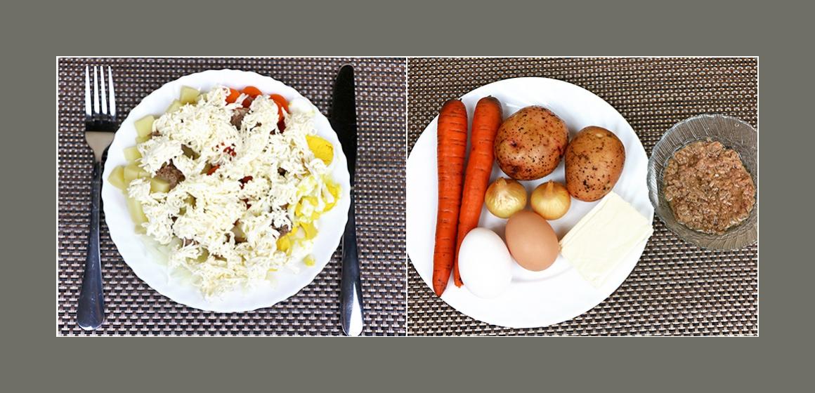 Köstlicher Kartoffelsalat mit Möhren, Eiern, Thunfisch und Schmelzkäse