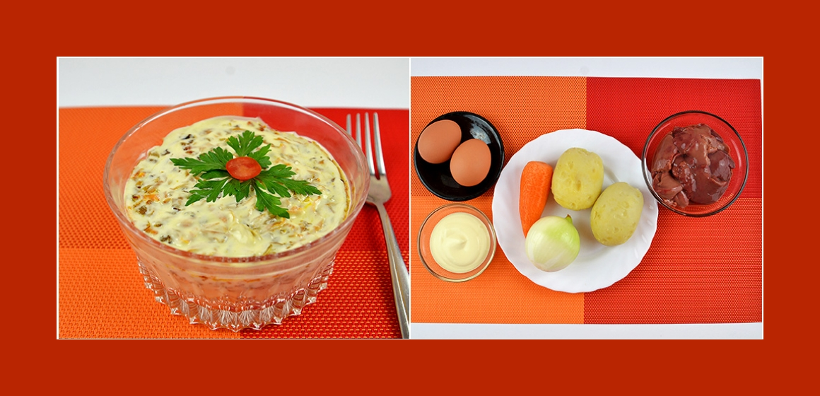 Herzhafter Schichtsalat mit Kartoffeln Karotten Zwiebeln Eiern und Leber
