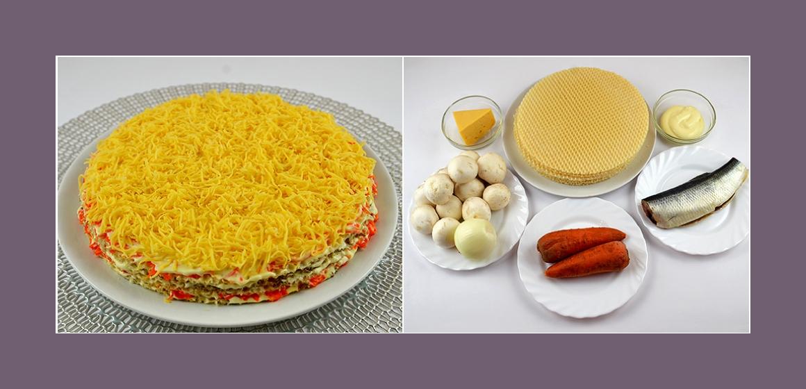 Köstlicher Waffelsalat mit Hering Karotten Zwiebeln Champignons und Käse